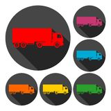 Truck icons set with long shadow Royalty Free Stock Image