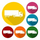 Truck icons set with long shadow Stock Image