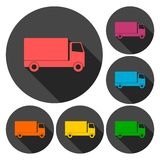 Truck icons set with long shadow Royalty Free Stock Photography