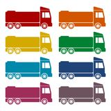 Truck icons set with long shadow. Vector icon Stock Photos