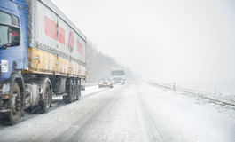 Truck on icy road Stock Image