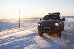 Truck on icy road. Stock Photo