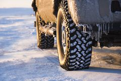 Truck on icy road. Royalty Free Stock Photos