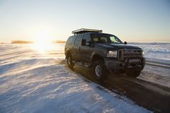 Truck on icy road. Stock Images
