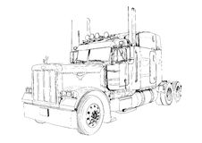 Truck illustration color isolated art drawing Stock Image