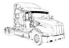 Truck illustration color isolated art drawing Royalty Free Stock Photography