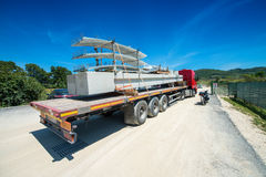 Truck with industrial site construction materials Royalty Free Stock Images