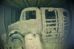 Truck inside the hold of a large shipwreck Royalty Free Stock Image