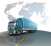 Truck. International transport on the background of the world map Royalty Free Stock Photo