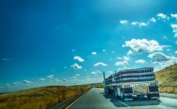 Truck on Interstate 5 southbound in California. USA Royalty Free Stock Photo