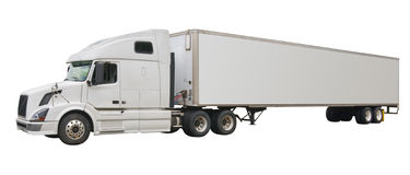 Truck, isolated. Big white truck with blank space for advertising, isolated Stock Photos