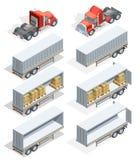 Truck Isometric Icon Set Stock Photo