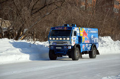 Truck the KAMAZ MASTER on a straight road Stock Photography