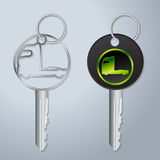 Truck keys with engraved truck tractor symbol Royalty Free Stock Photo