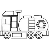 Truck kids coloring pages geometrical figures Stock Photo