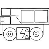Truck kids coloring pages geometrical figures Stock Photos