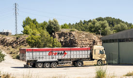 Truck leaving a cement factory Royalty Free Stock Photography