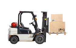 Truck lift with cardboard cargo boxes Stock Photos