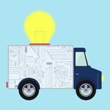 Truck with light bulb Stock Images