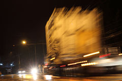 Truck light at night and blurred. Royalty Free Stock Images