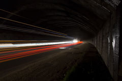 Truck light trails in tunnel. Stock Photography