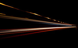 Truck light trails in tunnel. Stock Photos