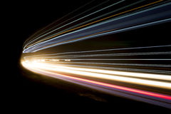 Truck light trails in tunnel. Art image Royalty Free Stock Images