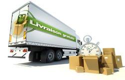 Truck Livraison gratuite,  urgent service. Urgent Truck transportation , free shipping service in French: Livraison gratuite Stock Photography