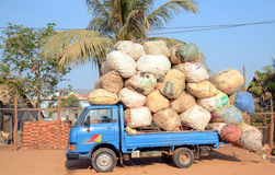 Truck loaded of bales of coton Royalty Free Stock Images
