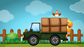 Truck loaded with hay in the farmyard. Illustration Royalty Free Stock Photos