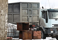 Truck loaded with metal structures Stock Photography