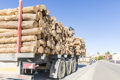 Truck loaded with wood logs in a village. A truck loaded with wood logs parked in a village Stock Photography