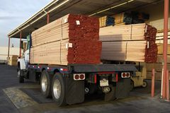 Truck Loaded With Wooden Planks Royalty Free Stock Photos