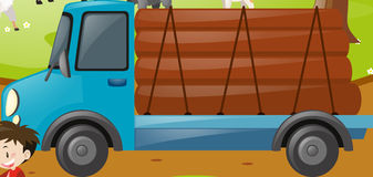 Truck loaded with woods. Illustration stock illustration