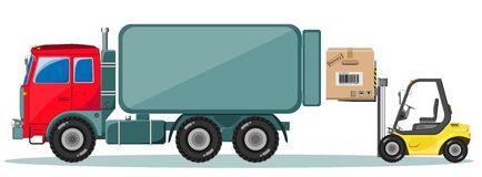 Truck and Loader with Box. Delivery of cargo. Royalty Free Stock Image