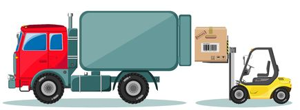 Truck and Loader with Box. Shipment Icons Set. Royalty Free Stock Images