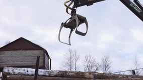 Truck loader crane claw picks up lumber cutted trees. On cold winter day, lots of snow and sawdust stock video footage