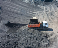 Truck on the loading of coal in coal mine Stock Photography