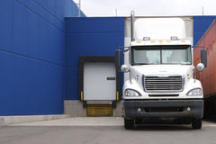 Truck at Loading Dock. Truck at a Loading Donck at a Mall, Warehouse or Shipping Facility Stock Image
