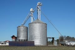 Truck loading at a grain elevator stock photos