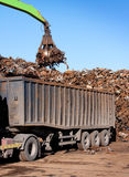 Truck loading with metal scrap royalty free stock photography