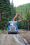 Truck loading wood. Truck loading cut wood in the Carpathian Mountains, Romania Stock Photo