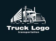 Truck logo illustration on dark background Stock Images