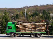 A truck with logs on transport Royalty Free Stock Photo