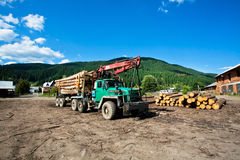 Truck with logs of trees standing in a sawmill Royalty Free Stock Photo
