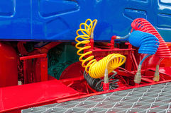 Truck, Lorry , airbrake hoses,connections. Truck, Lorry , airbrake hoses, connections, with top of trailer and back of cab royalty free stock photos