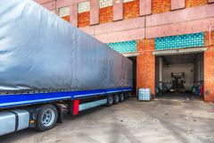 Truck or lorry repair shop service Stock Images