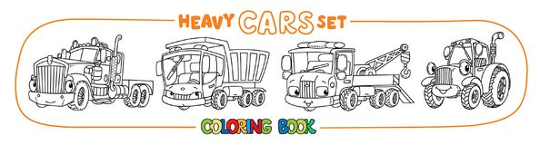 Funny heavy cars with eyes. Coloring book set royalty free illustration