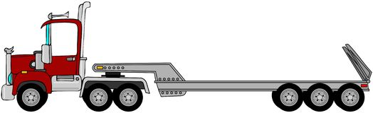 Truck & lowboy trailer. This illustration depicts a semi truck pulling an empty lowboy trailer Stock Photography