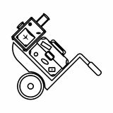 Truck with luggage icon, outline style Stock Photos